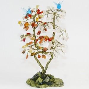 Дерево любви - сердолик, розовый кварц