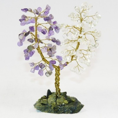 Дерево любви малое - аметист, горный хрусталь