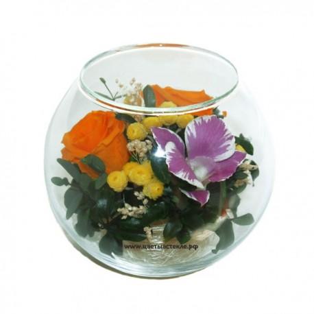 99_13 цветы в стекле, роза, гардения