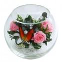 99_14 цветы+бабочка в стеклянном шаре