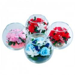 99_11 розы, гортензия, зелень, натуральные цветы в стекле