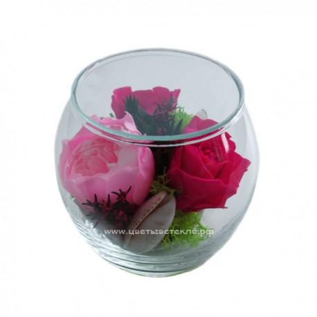 99_05 пион и розы в стекле, вакуум*