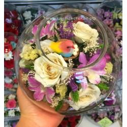 02_06 Попугайчик, цветы в стекле, вакуум*