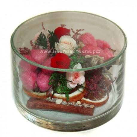 Хлопок, розы в стекле, вакуум*