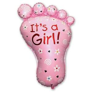 88_59 Шар фигура Стопа девочки розовая
