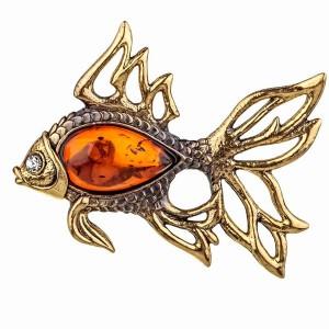 91.80 Броши Рыбка золотая